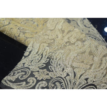 100%Polyester Golden Embroidered Mesh Fabric