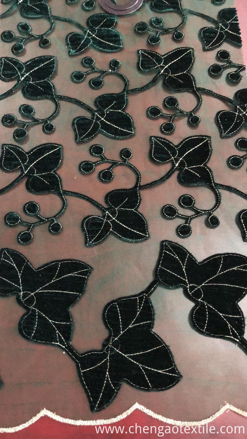 Black leaves design Mesh Embroider Fabric