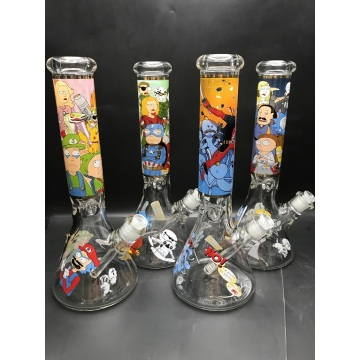 7mm Thick Beaker Bongs with Ugly Cartoon Characters