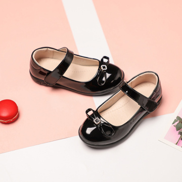 Girl Black Leather Dancing Shoes