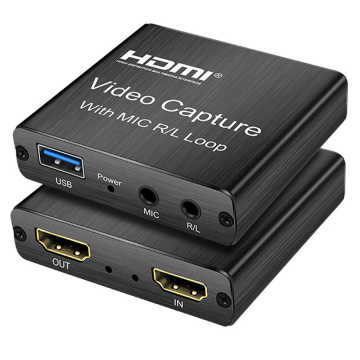4K HDMI Video Capture Card 1080p Board Game Capture Card USB 2.0 Recorder Box Device for Live Streaming Video Recording Loop Out