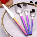 Colorful Plated Wide Handle Stainless Spoon Knife Fork