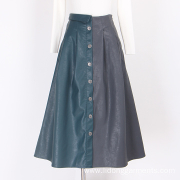 PU leather Dresses Women Loose Skirt Casual Dresses