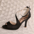 9CM Heel Ladies Navy Blue Sandals Size 5