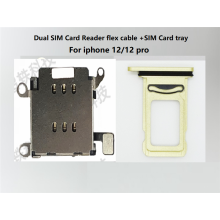Dual Sim Card Reader connector Flex Cable + Sim Card Tray Slot Holder For iPhone 12/12pro