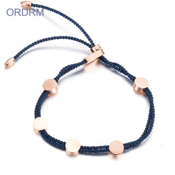 Custom Womens Adjustable Blue Nylon Rope Bracelet