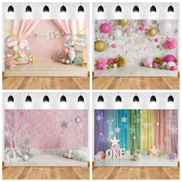 Birthday Photo Backdrop Curtain Candy Bar Banner For Photo Studio Props Vinyl Photographic Backgrounds Baby Shower Photophone