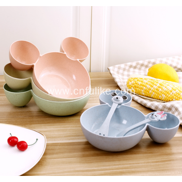 Mickey Mouse Shape Wheat Straw Kids Dinnerware