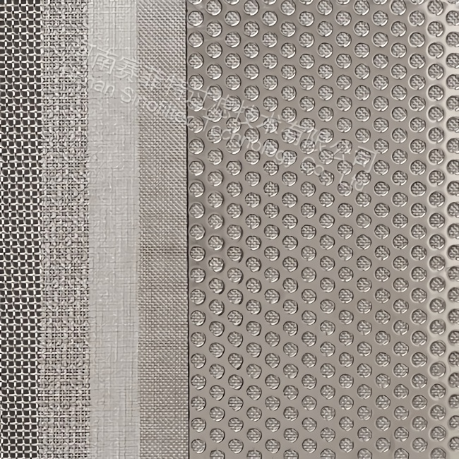 Sintered wire mesh with punched plate screen