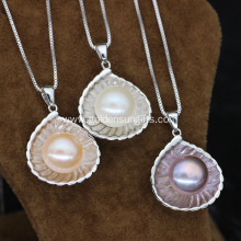 11-12MM Button Freshwater Pearl Pendants Necklace Jewelry