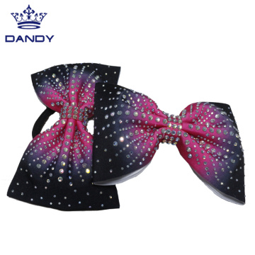 Customized colorful hair bows with rhinestones