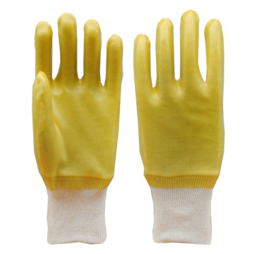Yellow PVC Smooth Finish gloves with Knit Wrist