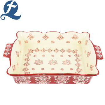Heat resistant safe rectangular lace printed ceramic bakeware with binaural