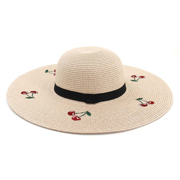 Cherry with embroidery design floppy straw hat
