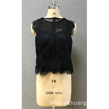 women's black lace blouse
