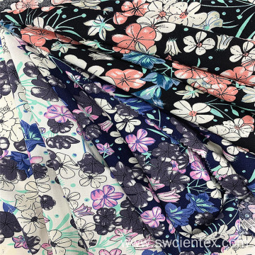Floral Printed 100% Rayon Plain Woven Dress Fabrics