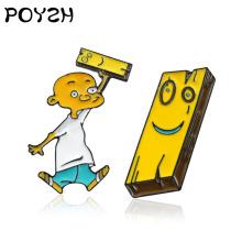 """ Ed edd n eddy Brooch Animated cartoon Cute yellow Wooden Plank Bald Little Boys Enamel Pin For Kid Friends Jewelry Gift"""