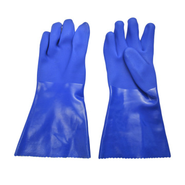 Blue PVC gloves with impregnated sandy Finish 35cm