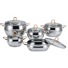 stainless steel casserole set golden handle apple shape