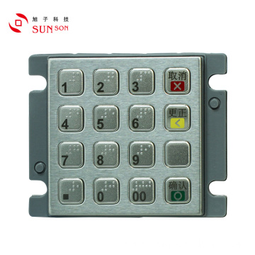 Compact Stainless Steel EMV AES Approved Encrypted PINpad