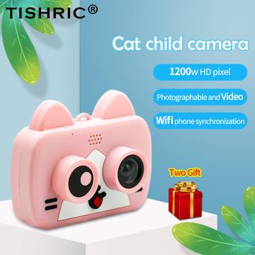 TISHRIC 1200W WIFI Children's Camera Mini Cute cat Digital Kids Camera For child Baby Photo selfie 1080P with Flash Memory Card