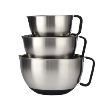 Stainless Steel Non-Slip Mixing Bowls With Handle Black
