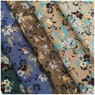 Floral Pattern Woven Rayon Challis Printed Fabric