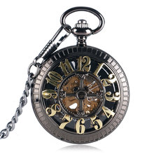 Vintage Retro Black Dial Automatic Mechanical Self-wind Cartoon Mouse Golden Number Men Women Hollow Fob Pocket Watch Chain Gift
