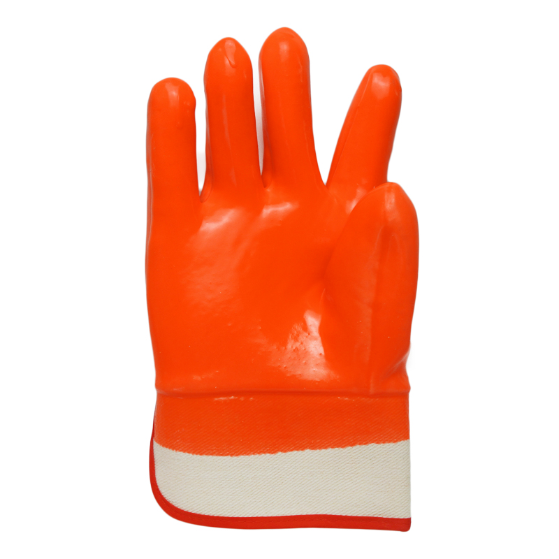 Flourescent Orange PVC gloves smooth finish safety cuff