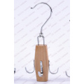 Wooden Belt Hanger Natural With Movable Hook