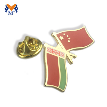 Different country custom double flag lapel pins