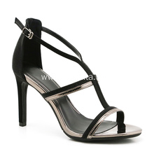 Black High Heels with Buckle for Women