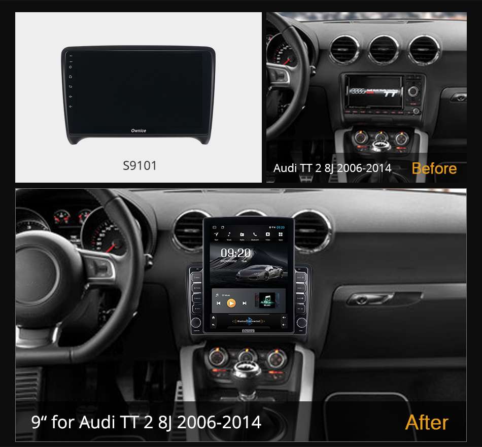 Ownice Android 10.0 Car Radio forAudi TT 2 8J 2006 - 2014 GPS 2 Din Auto Audio System Stereo Player 4G LTE Tesla Style Nano