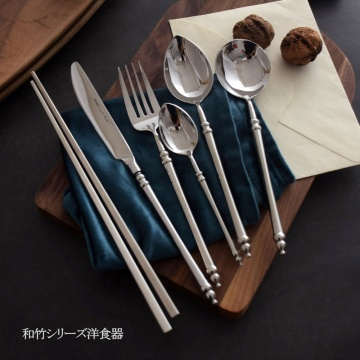 Japanese Bamboo Handle Stainless Wedding Flatware Set