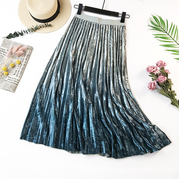 Women Velvet Pleated Loose Skirt Women Casual Dress