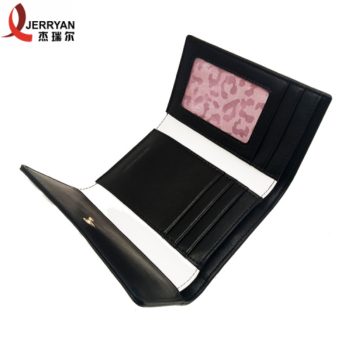 Leather Womens Black Clutch Bag Clip Wallet