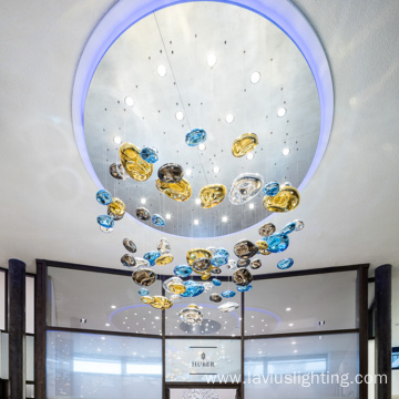 Long stairs ball glass led chandelier pendant lamp