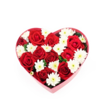 Red Chocolate Flowerls Heart Shape cardboard Paper Box