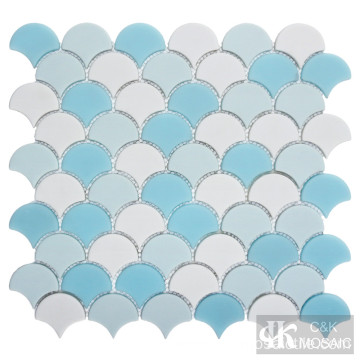Popular Blue Fish Scale Glass Mosaic Tiles