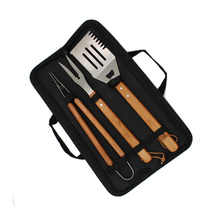 Stainless Steel Barbecue Utensils Set With Wooden Handle