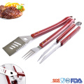 wooden handle barbecue grilling tool bbq tool set