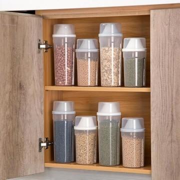 210/1500ml Plastic Kitchen Cereal Dispenser Storage Box Kitchen Food Grain Rice Container Portable Organizer Grain Storage Cans