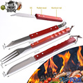 3pcs wood handle stainless steel bbq tool set