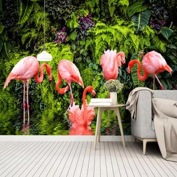 3D Wallpaper Nordic Small Fresh Tropical Rainforest Banana Leaf Flamingo Wall Paper Roll Living Room Background Wall Cloth Mural