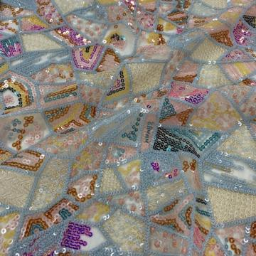 Gorgeous 100%  Poly Sequin Embroidery Fabric