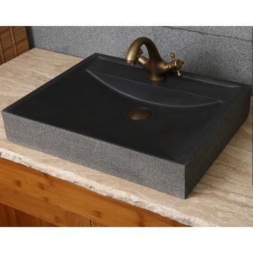 Rectangle honed natural black lava trough sink