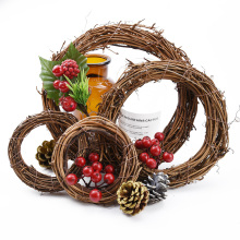 1pcs Rattan Ring Artificial flowers Wedding bride Garland Dried flower frame For Home Christmas Decoration DIY floral Wreaths