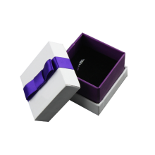 White Detachable Lid Paper Ring Box with Bow-Knot