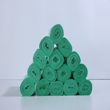 Biodegradable printed plastic waste bags on roll