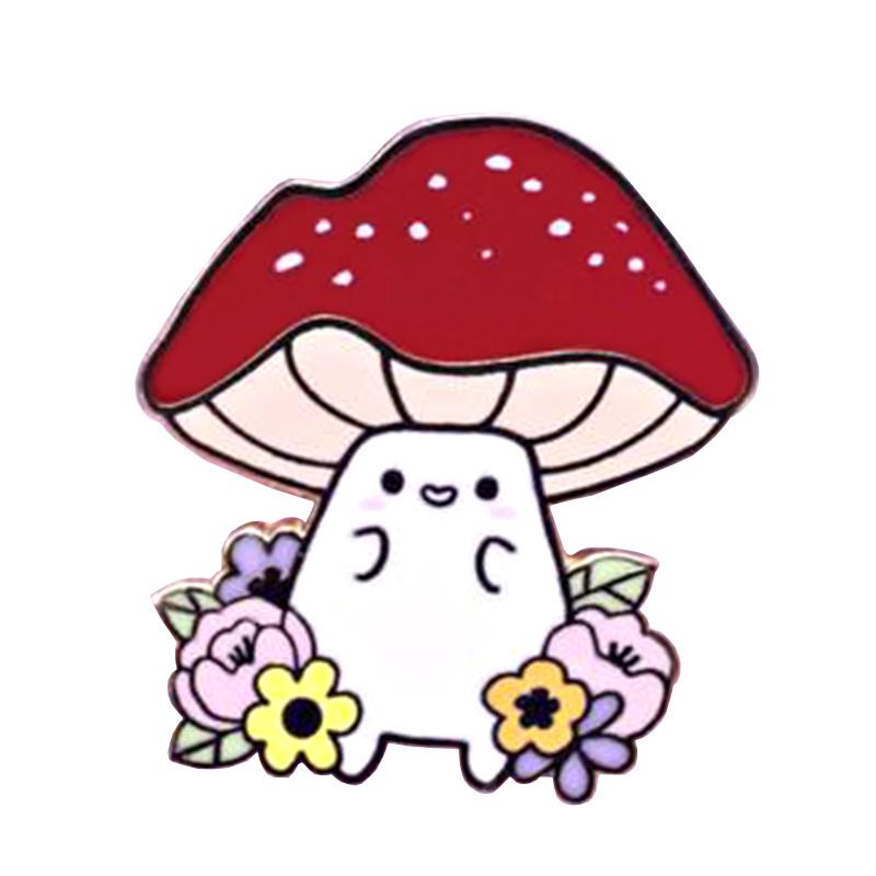 Mushroom Enamel Pin Cute Nature Flower BroochKawaii Red umbrella Jewelry